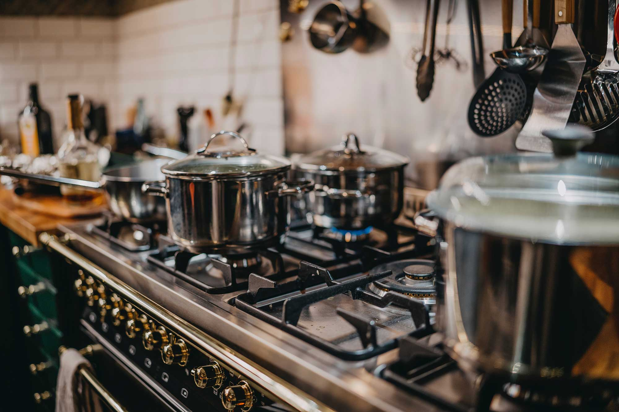 Pots on a stovetop
