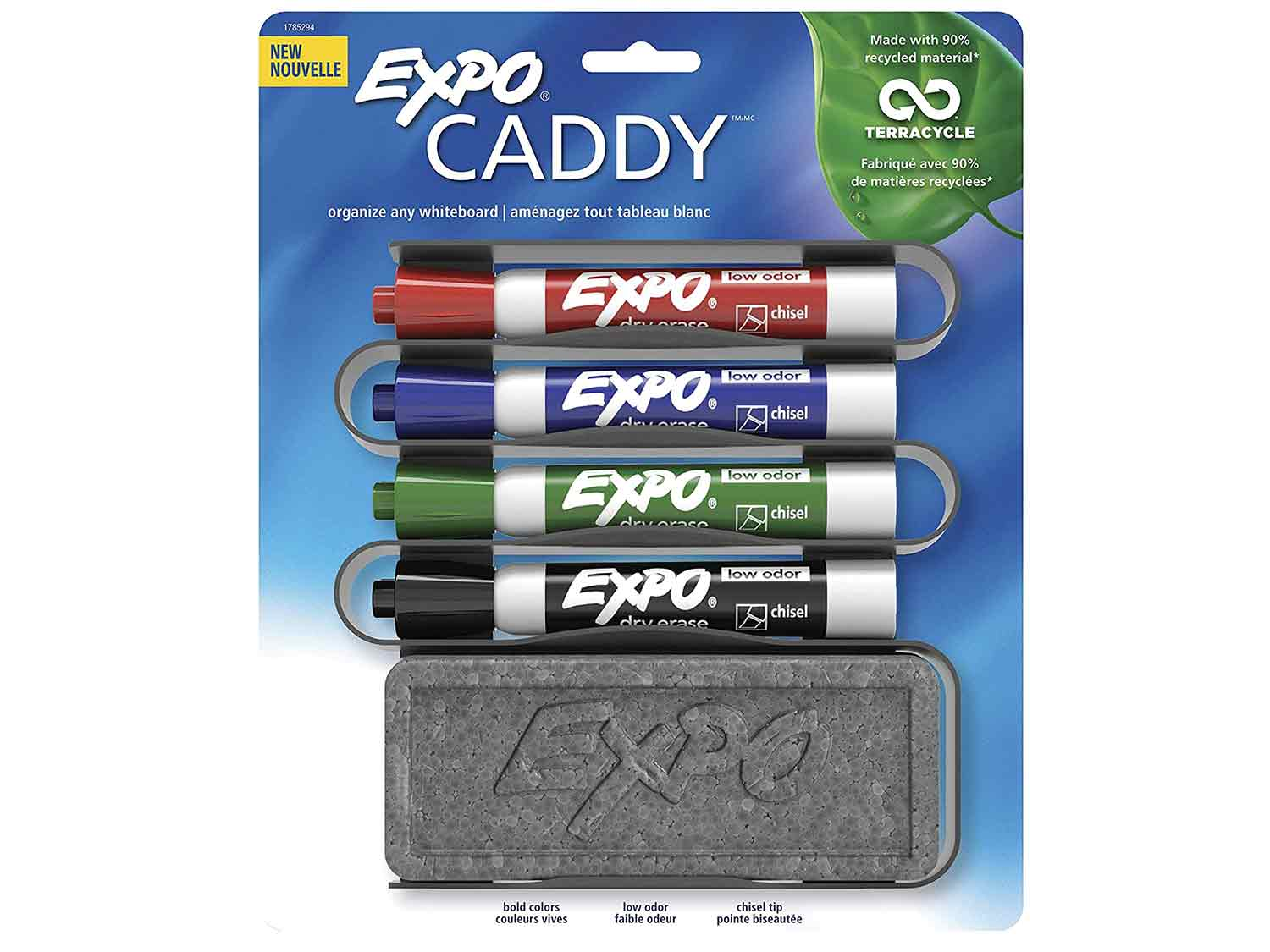 EXPO 1785294 Low-Odor Dry Erase Set, Chisel Tip, Assorted Colors, 5-Piece with Recycled Material Marker Caddy