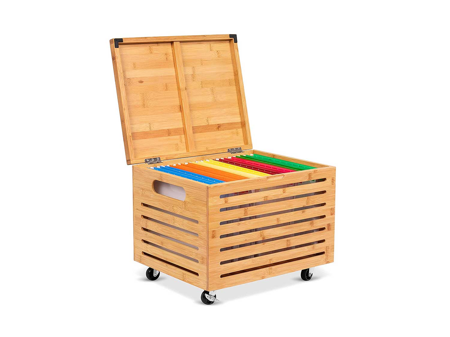 BirdRock Home Rolling File Storage Organizer Box with Lid (NEW VERSION) - Bamboo - Decorative Wood Hanging Filing & Storage Office Box - Letter/Legal - Strong Durable - Toys Blankets Binders - Natural