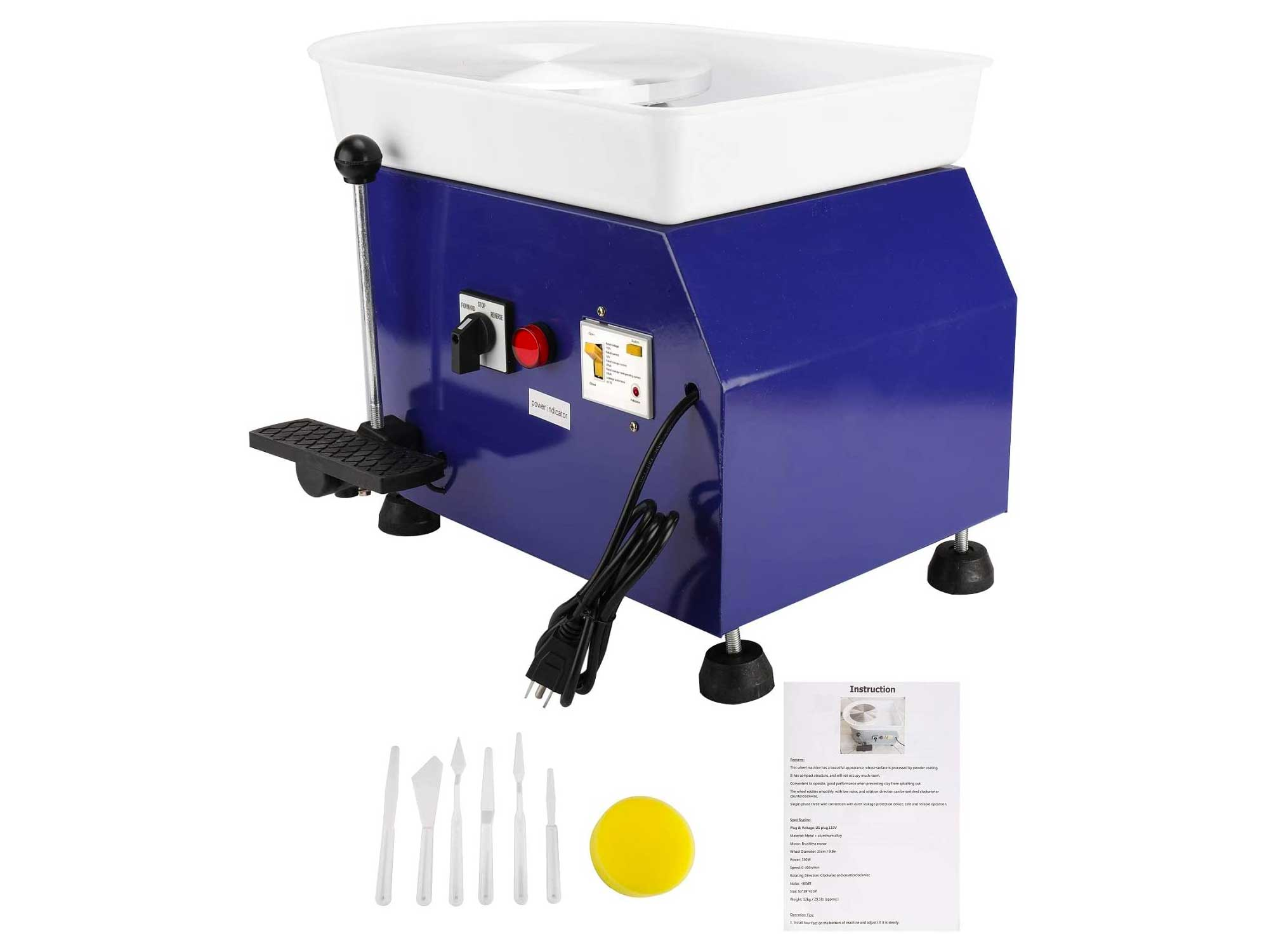 25CM 350W Electric Pottery Wheel Machine Ceramic Clay Work Forming Machine with Lever and Foot Pedal ABS Basin DIY Clay Art Craft Shaping Tools (Blue Color)