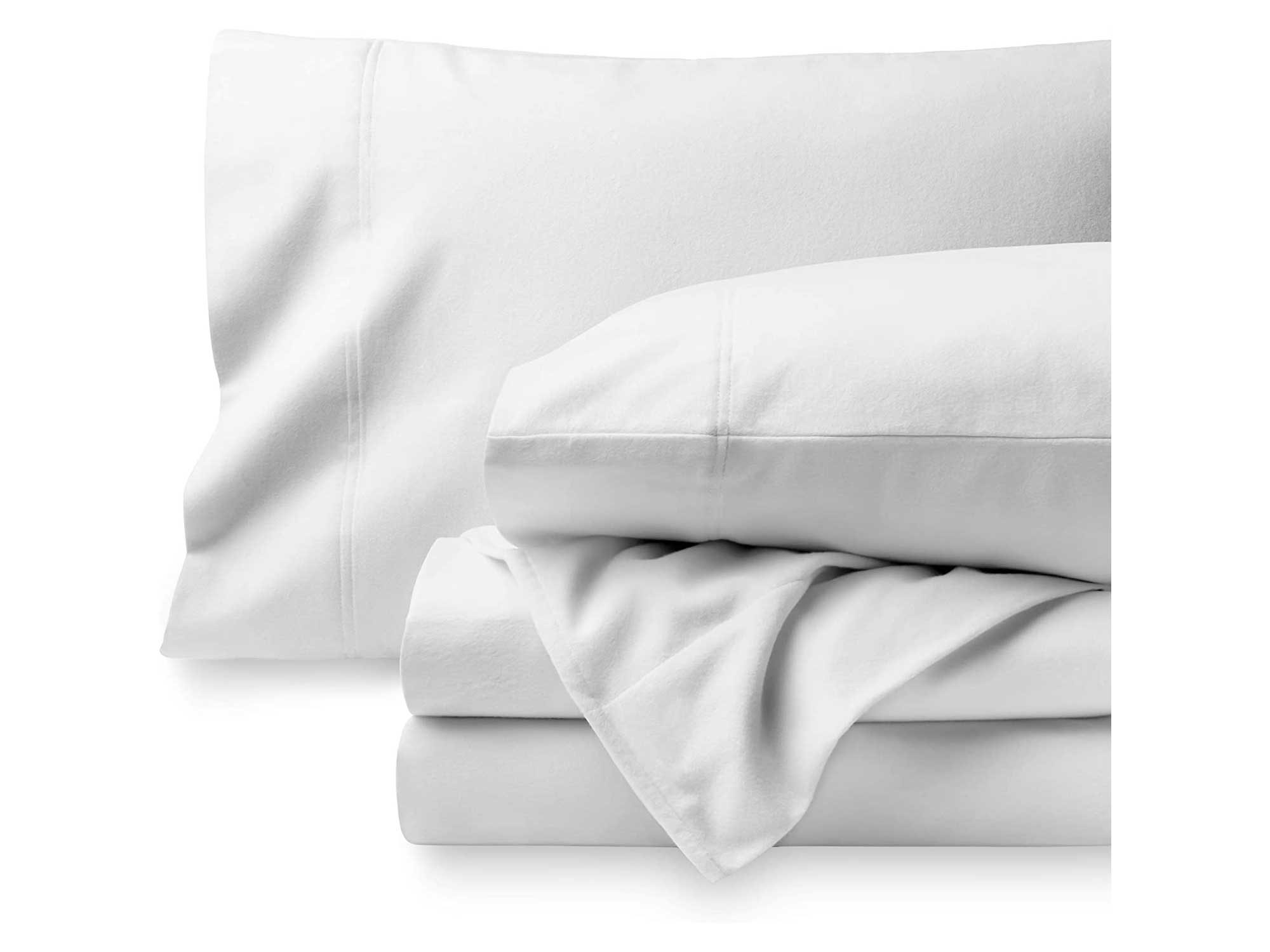 Bare Home Flannel Sheet Set 100% Cotton, Velvety Soft Heavyweight - Double Brushed Flannel - Deep Pocket (King, White)