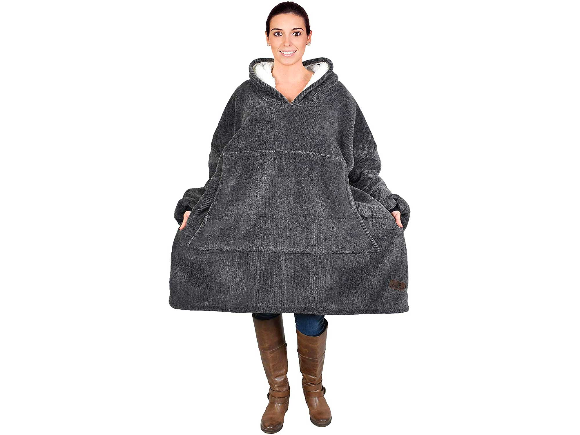 Oversized Hoodie Blanket Sweatshirt,Super Soft Warm Comfortable Sherpa Giant Pullover with Large Front Pocket,for Adults Men Women Teenagers Kids,Ash Charcoal Grey