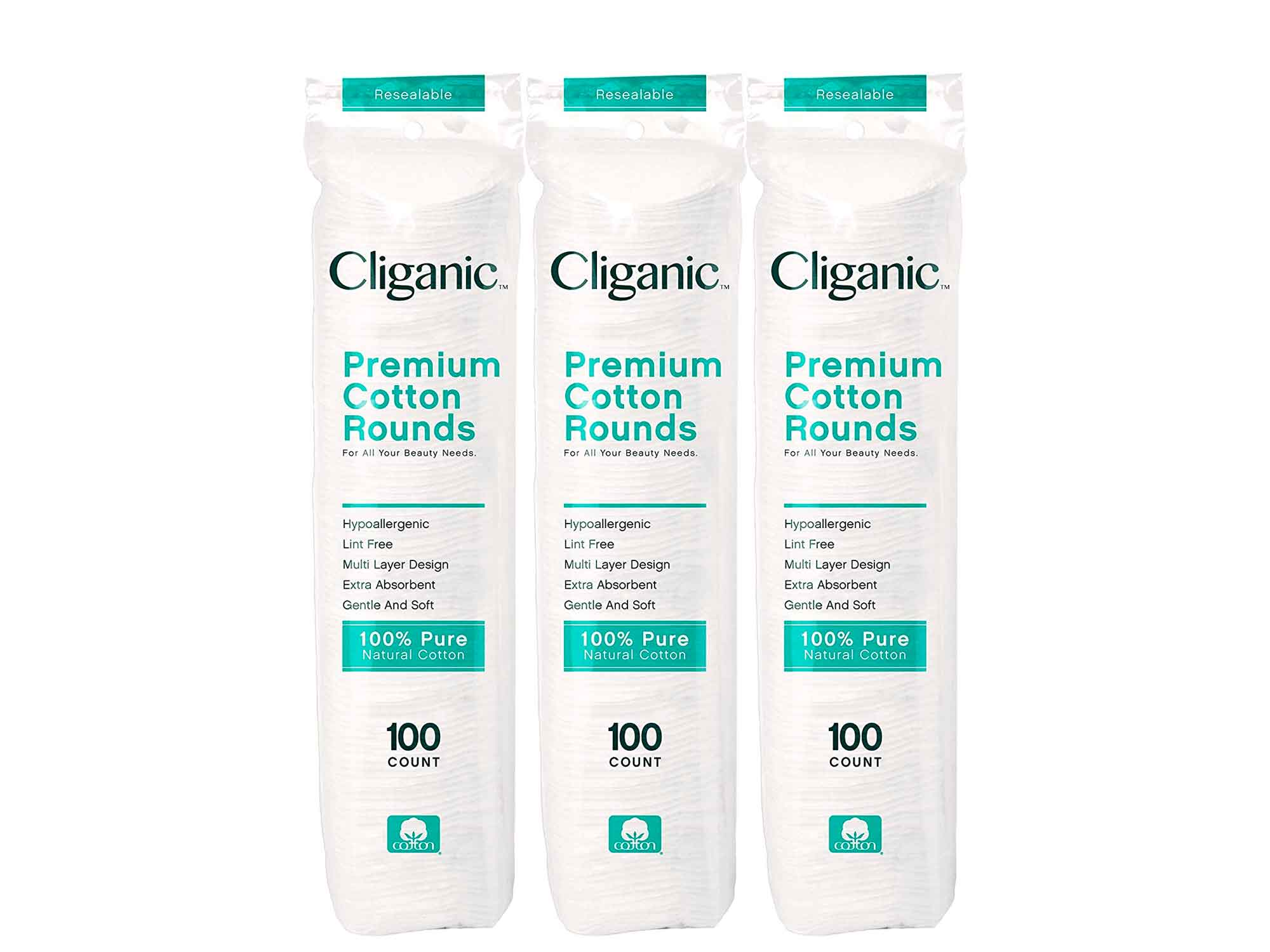 Cliganic Premium Cotton Rounds for Face (300 Count) - Makeup Remover Pads, Hypoallergenic, Lint-Free | 100% Pure Cotton
