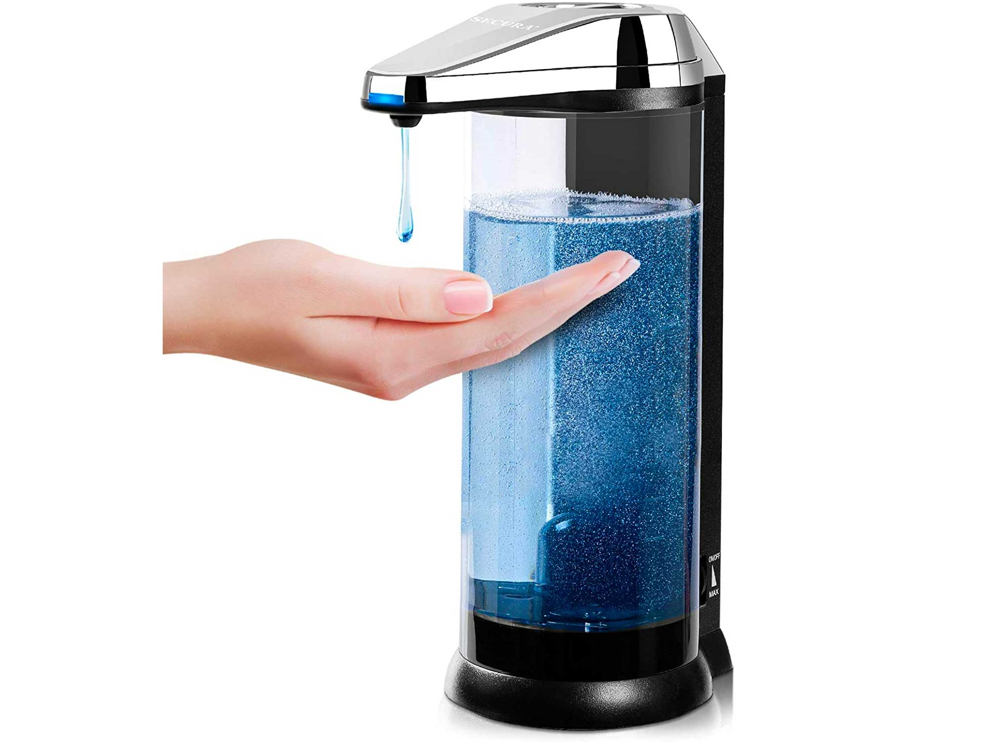Secura 17oz / 500ml Premium Touchless Battery Operated Electric Automatic Soap Dispenser w/Adjustable Soap Dispensing Volume Control Dial (Chrome)