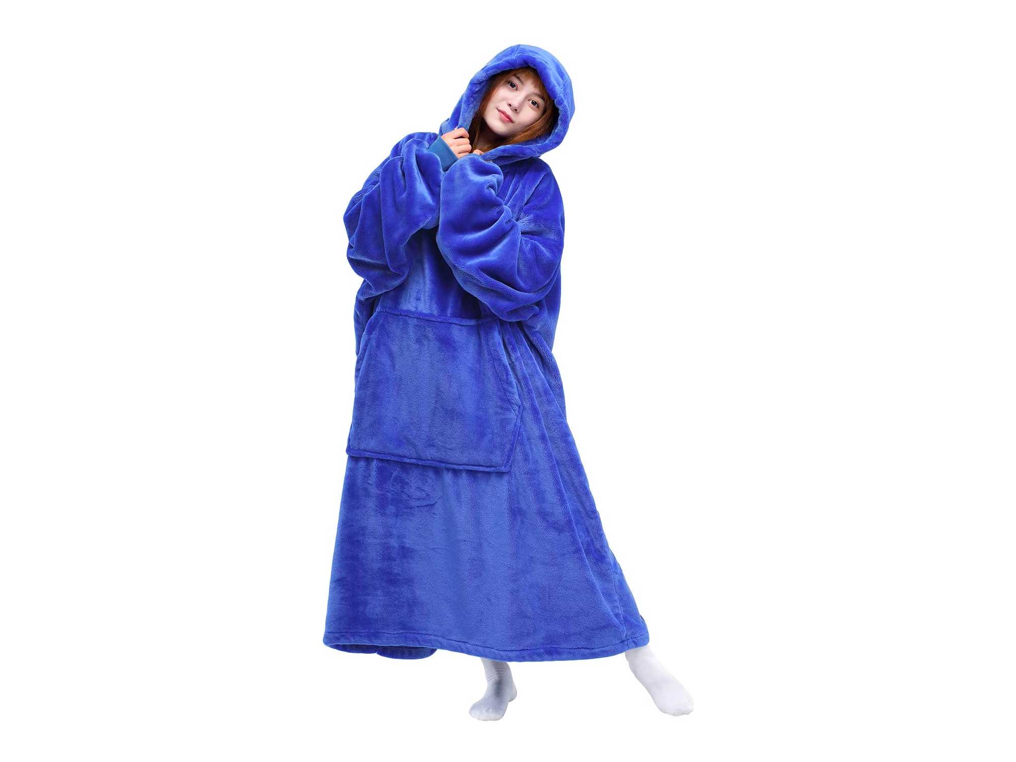 Waitu Wearable Blanket Sweatshirt for Women and Men, Super Warm and Cozy Big Blanket Hoodie, Thick Flannel Blanket with Sleeves and Giant Pocket - Blue
