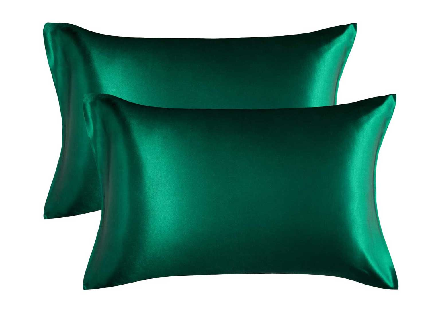 Bedsure Satin King Size Pillow Cases Set of 2 , Dark Green, 20x40 inches - Pillowcase for Hair and Skin - Satin Pillow Covers with Envelope Closure