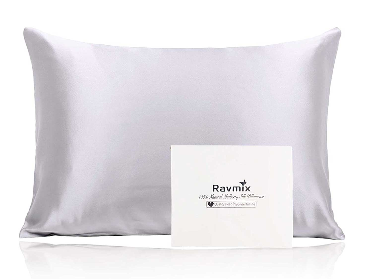 Ravmix 100% Pure Mulberry Silk Pillowcase for Hair and Skin with Hidden Zipper, Both Sides 21 Momme Natural Silk, 1PCS, Standard Size 20×26inch, Silver Grey