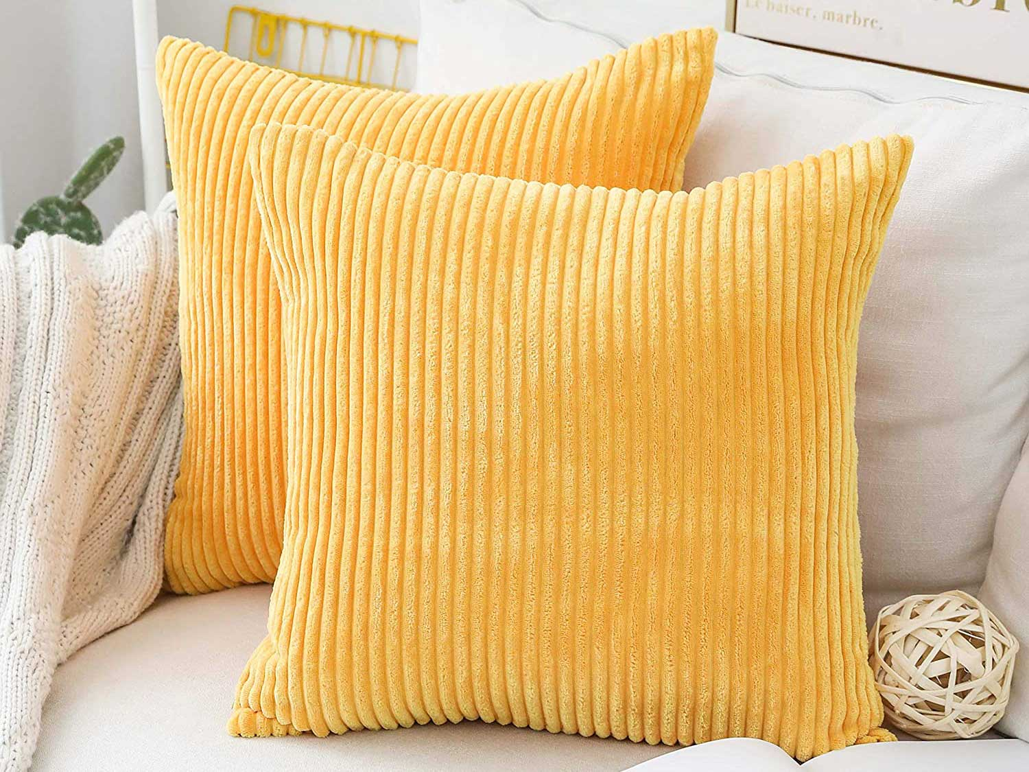 Home Brilliant Throw Pillow Covers Decorative Striped Velvet Square Mustard Throw Pillows for Couch Sofa Set of 2, 18x18 inch (45cm), Sunflower Yellow
