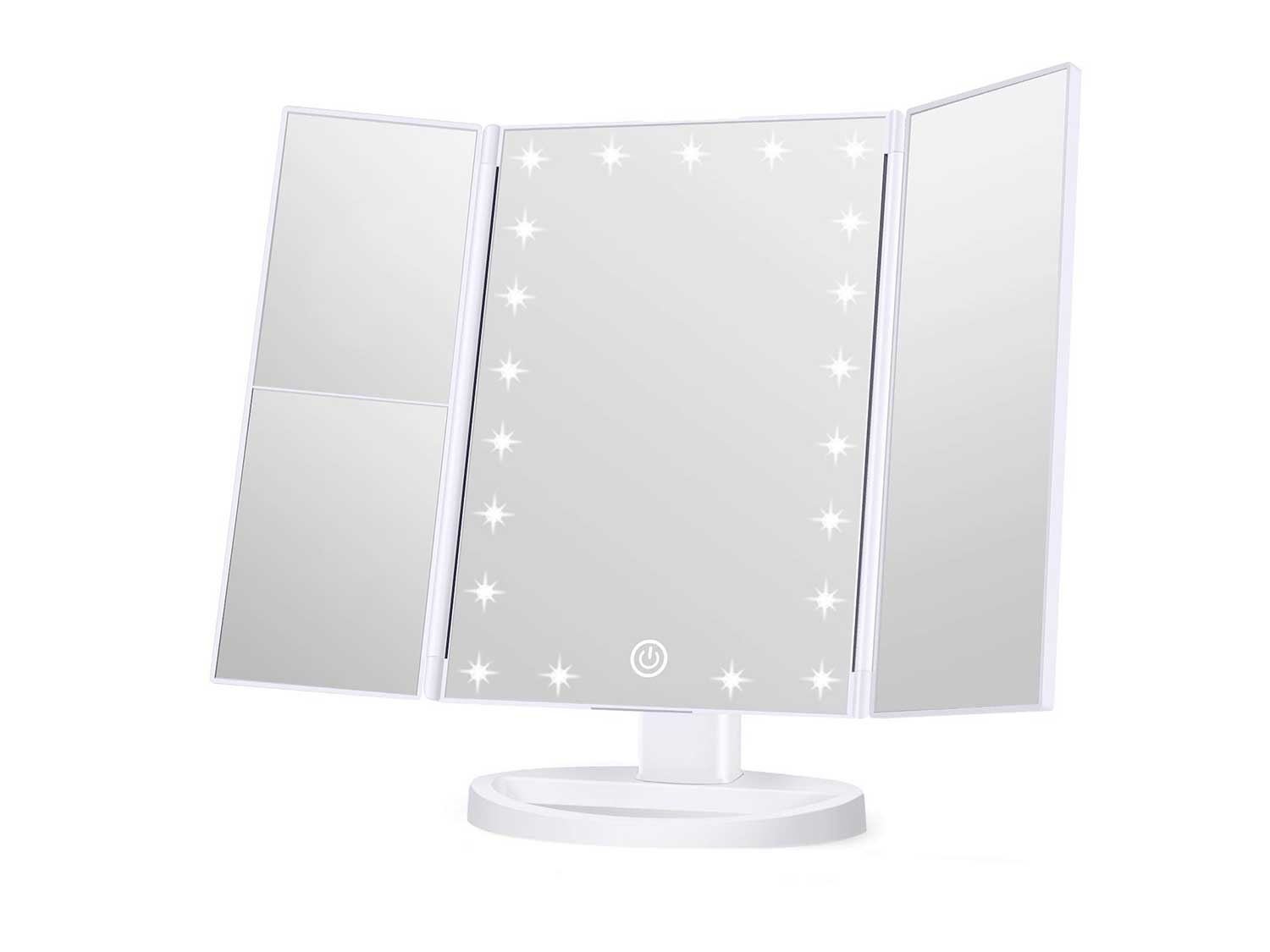 Wondruz Makeup Mirror Vanity Mirror with Lights, 1x 2X 3X Magnification, Touch Screen Switch, Dual Power Supply, Portable Trifold Makeup Mirror Cosmetic Lighted Up Mirror
