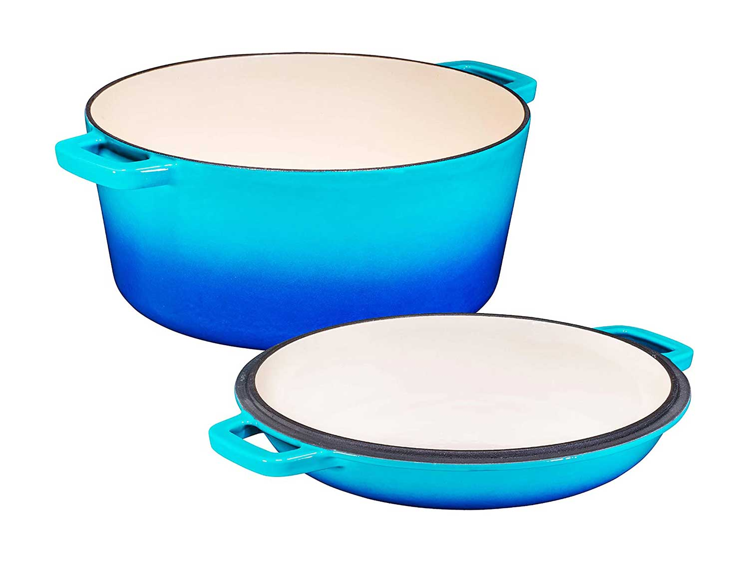 2 in 1 Enameled Cast Iron Double Dutch Oven & Skillet Lid, 5-Quart, Induction, Electric, Gas & In Oven Compatible, Caribbean