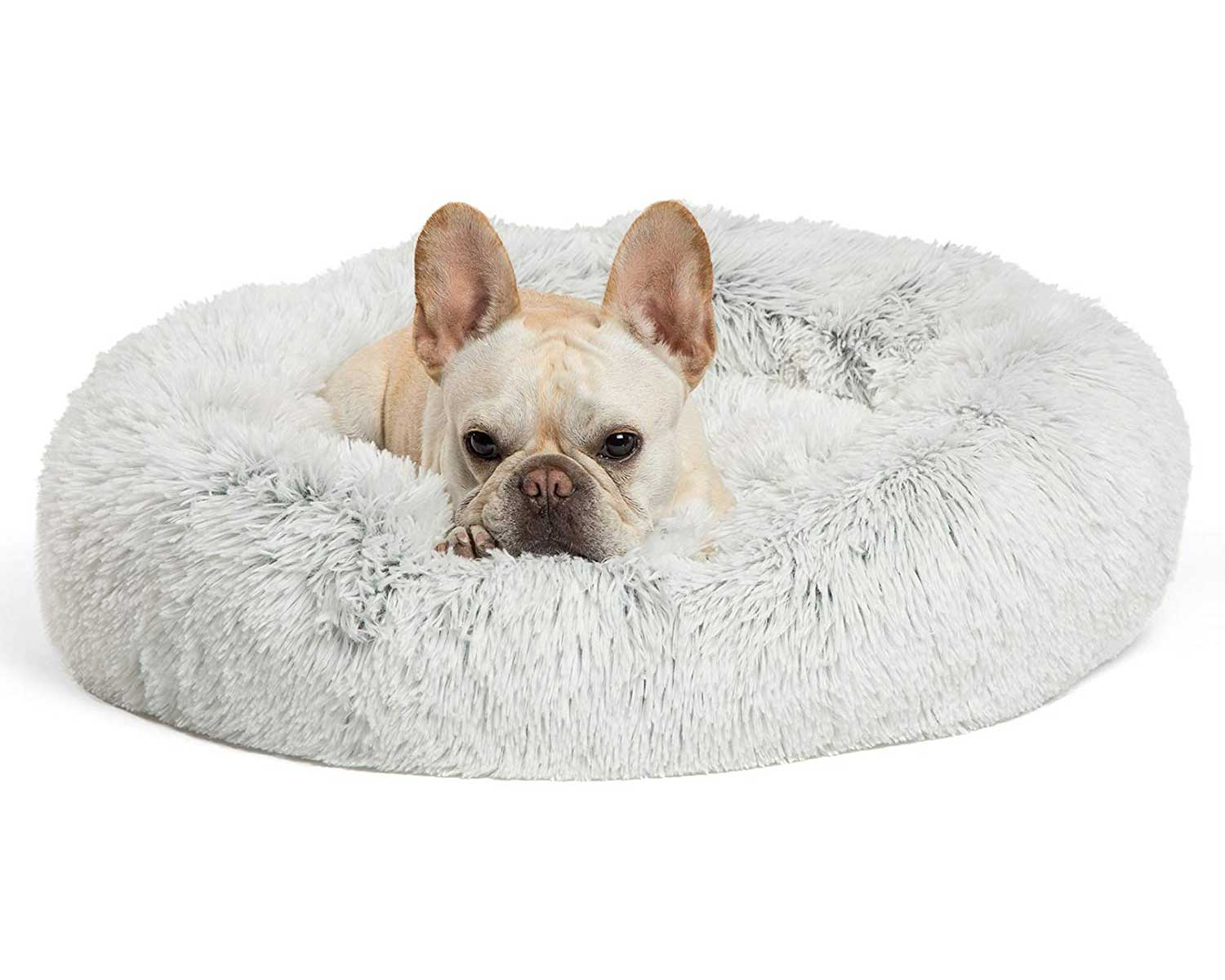 Best Friends by Sheri The Original Calming Donut Cat and Dog Bed in Shag Fur, Multiple Sizes and Bundle Value for pets up to 150 pounds, Machine Washable