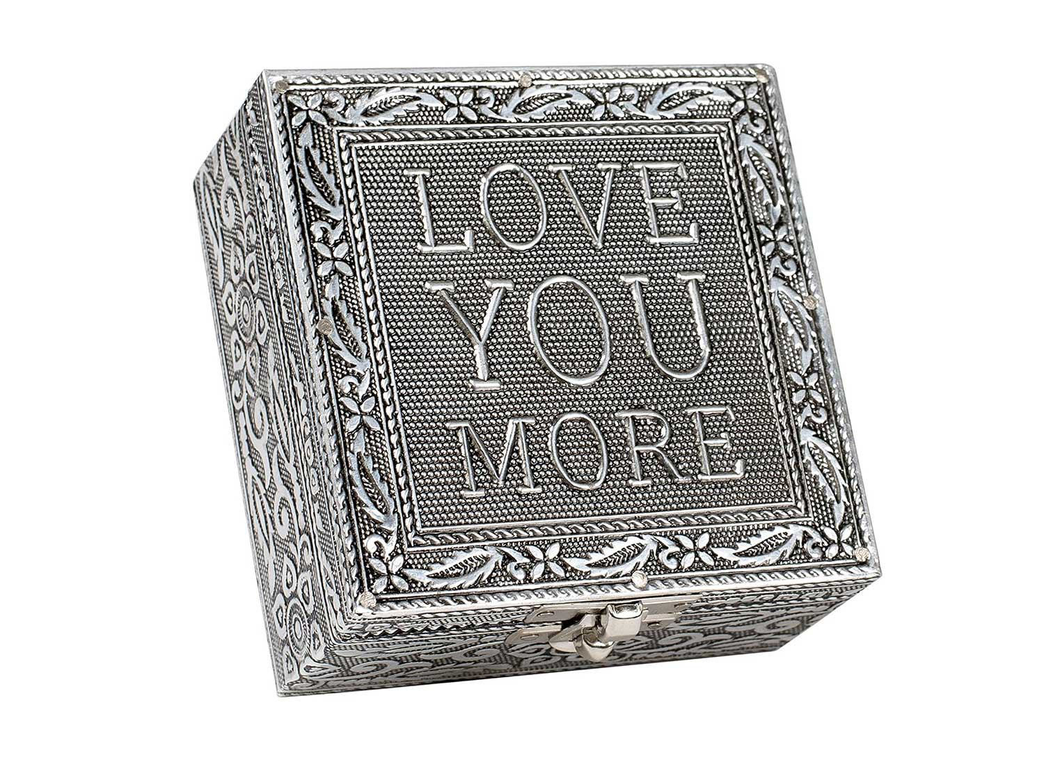 Cottage Garden Love You More Silver Color Metal Jewelry Keepsake Decorative Box