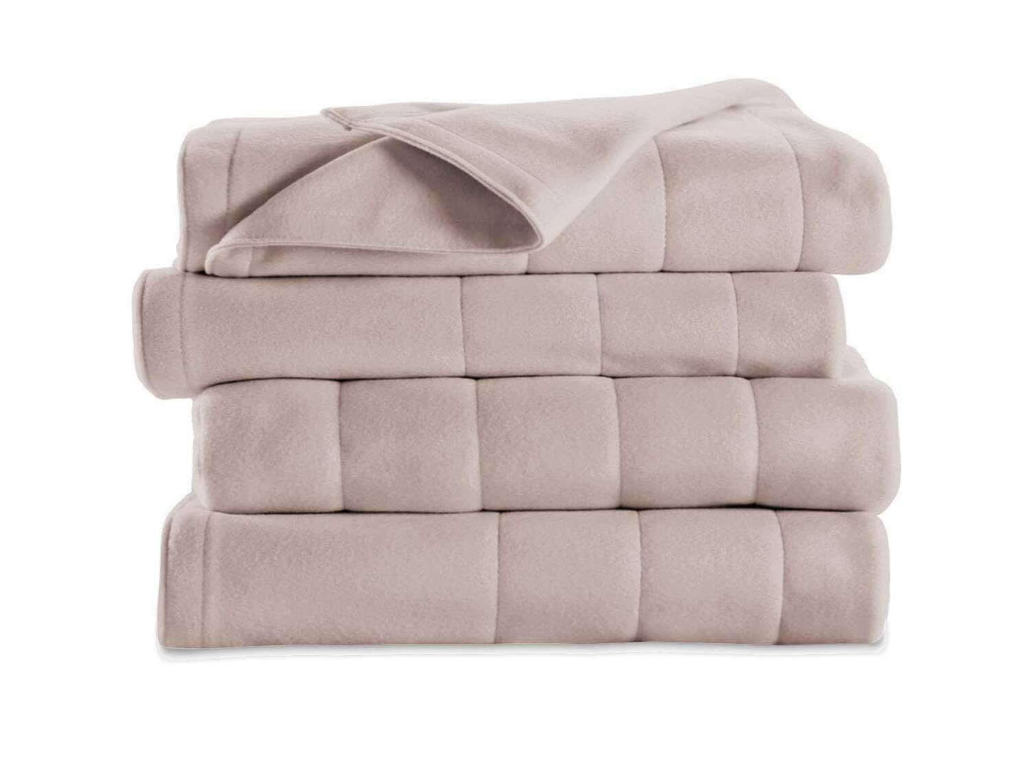 Sunbeam Soft Quilted Fleece Electric Heated Warming Blanket Queen Seashell Washable Auto Shut Off 10 Heat Settings