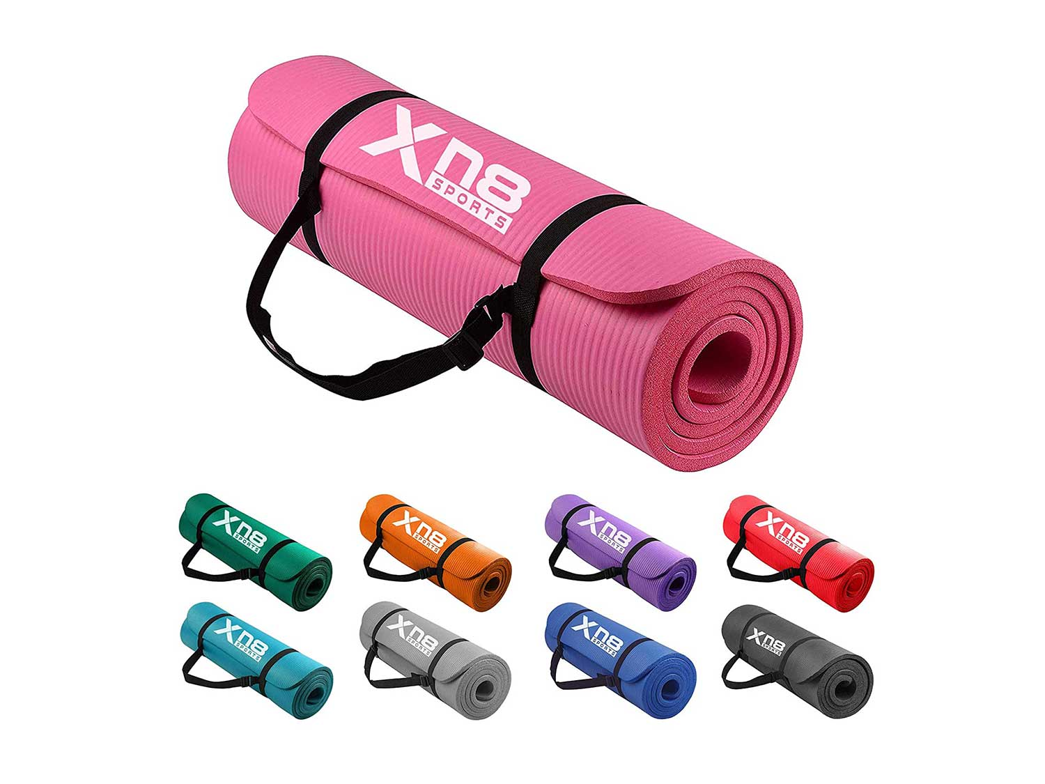 XN8 Padded Exercise Yoga Mat-NBR 15mm Thick with Carry Handle Strap for Pilates-Exercise-Aerobic-Gymnastics-home exercises-fitness-Camping-Gym-Non Slip Large