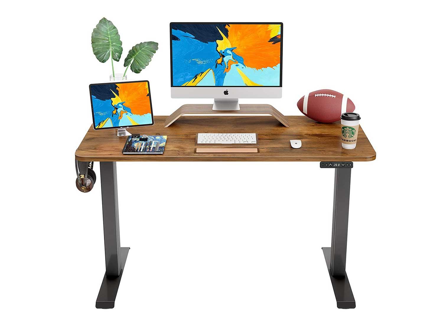 FAMISKY Dual Motor Adjustable Height Electric Standing Desk, 48 x 24 Inches Stand Up Home Office Desk with Splice Tabletop, Black Frame/Walnut Top
