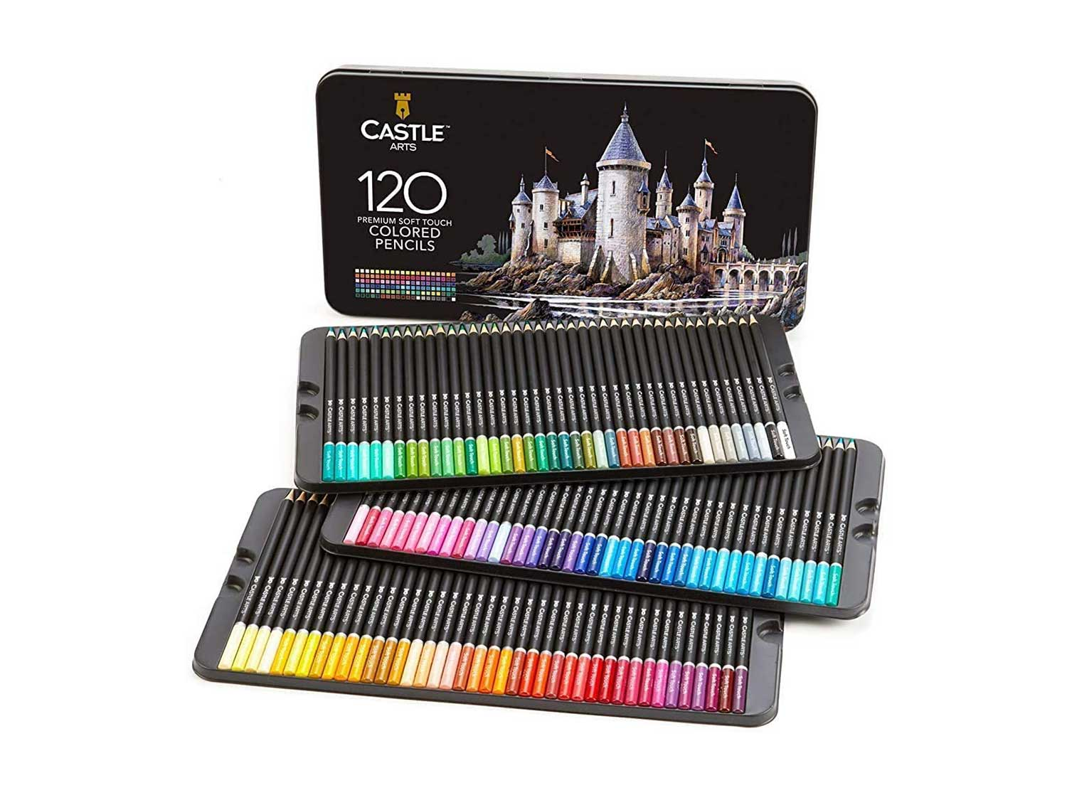 Castle Art Supplies 120 Coloured Pencils Set for Adults Artists Professional | Featuring soft series core for expert layering blending shading drawing | Perfect for colouring books and classroom