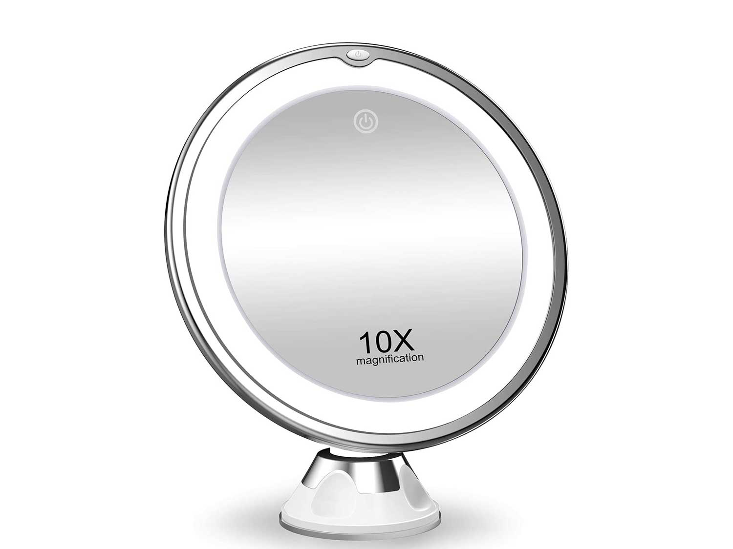 KOOLORBS 10X Magnifying Makeup Mirror with Lights, 3 Color Lighting, Intelligent Switch, 360 Degree Rotation, Powerful Suction Cup, Portable , Good for Tabletop, Bathroom, Traveling