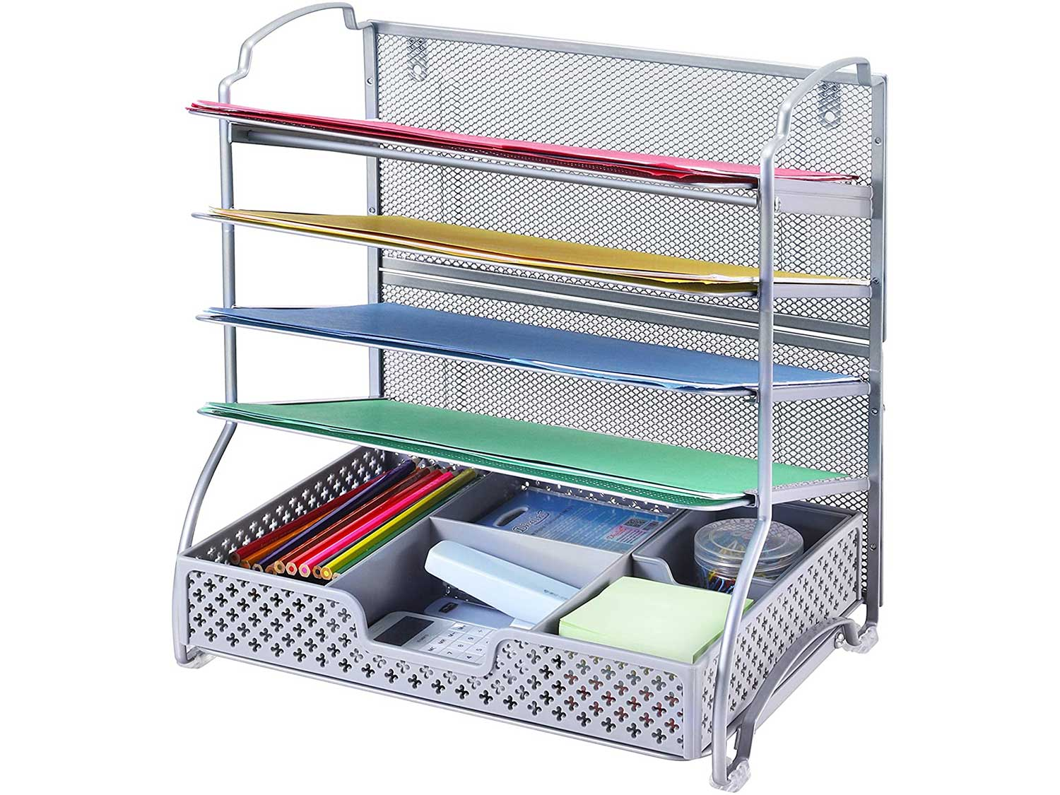 Simple Trending 5-Trays Mesh Desk File Organizer Vertical Document Letter Tray Wall File Holder with Plastic Drawer Organizer for Office Home, Silver