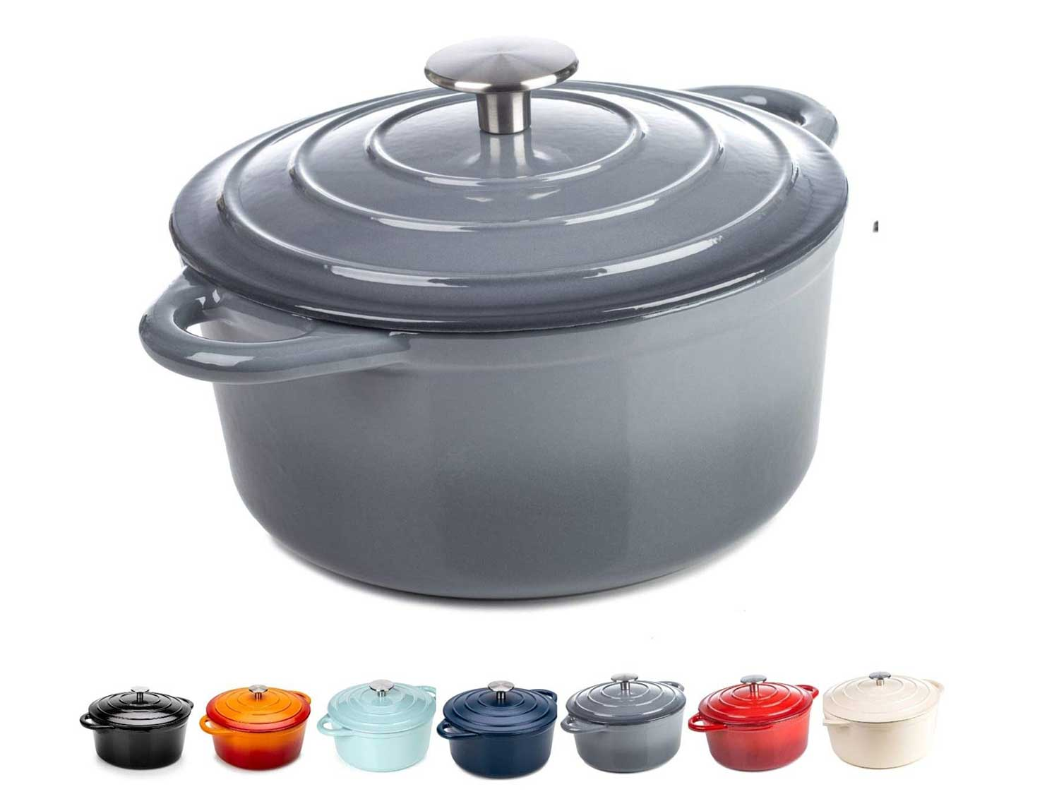 Round Casserole Dish - Cast Iron Ceramic Induction and Gas Safe Non Stick Dutch Oven Roasting Cooker - with Lid - 30cm - 10 Year Gurantee (5.2L Casserole, Grey)