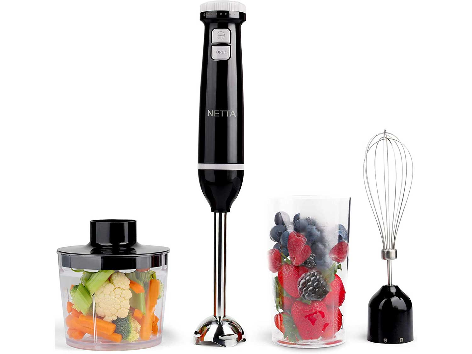 NETTA 3 in 1 Hand Blender, Whisk and Mini Chopper with 700ml Beaker - Powerful 600W - Electric Whisk, Immersion Mixer, 500ml Chopper Bowl - Stainless Steel Blades - BPA Free