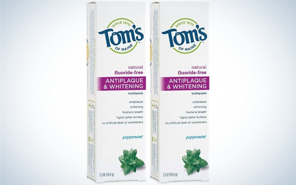 Two boxes in a white color lettering in front of them Tom's with capital letters.