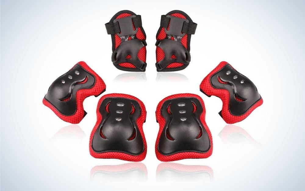 red and black kneed pads from multiple angles