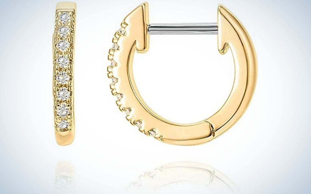 Gold Hoop Earring from Side and from Front