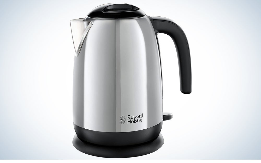 stainless steel kettle with black top, handle, and base