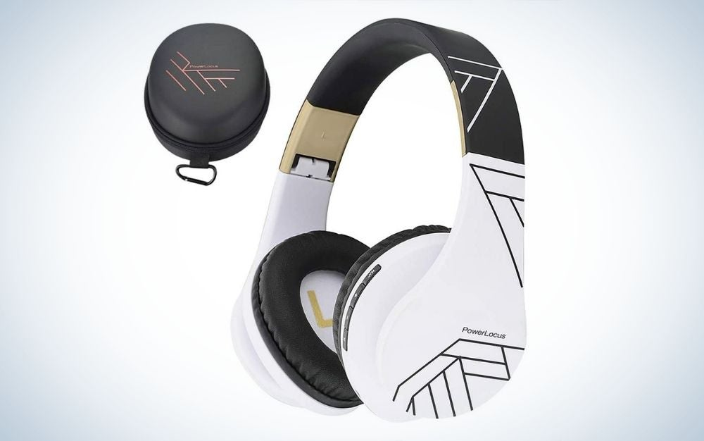 Black and white headphones and a small black bag.