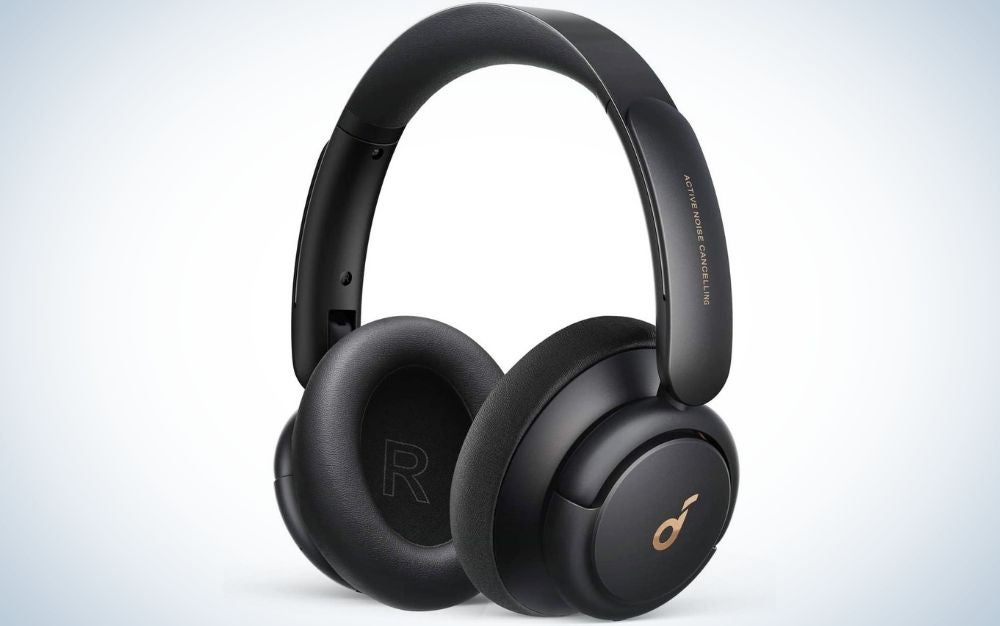 All Black wireless headphones with gold symbols from front.