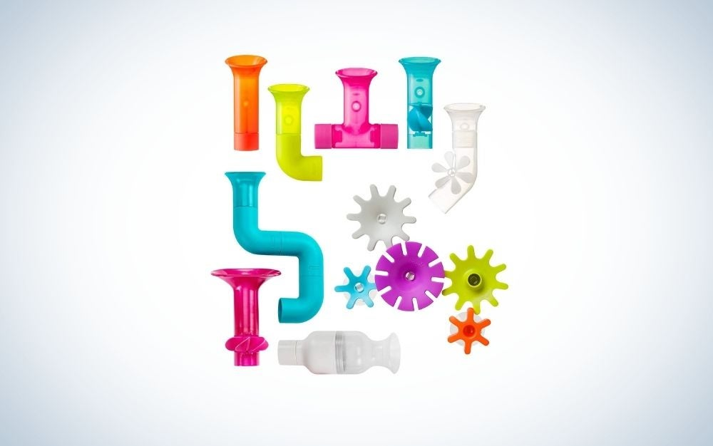 A colorful boon building bath toy for kids