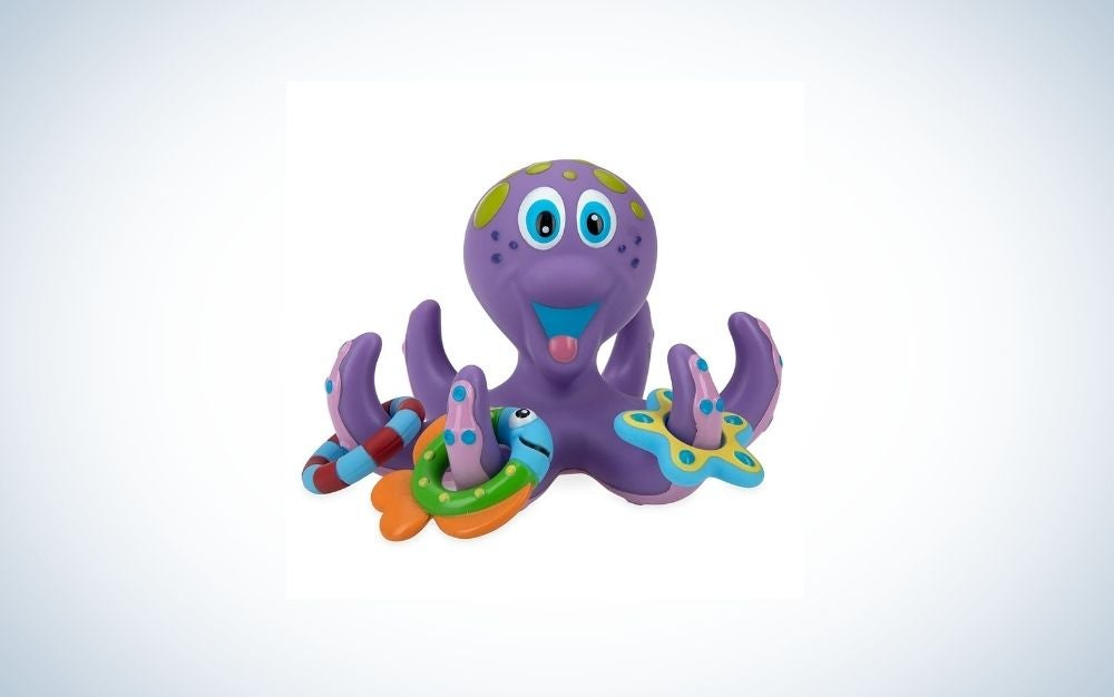 A floating purple octopus, perfect bath toy for kids