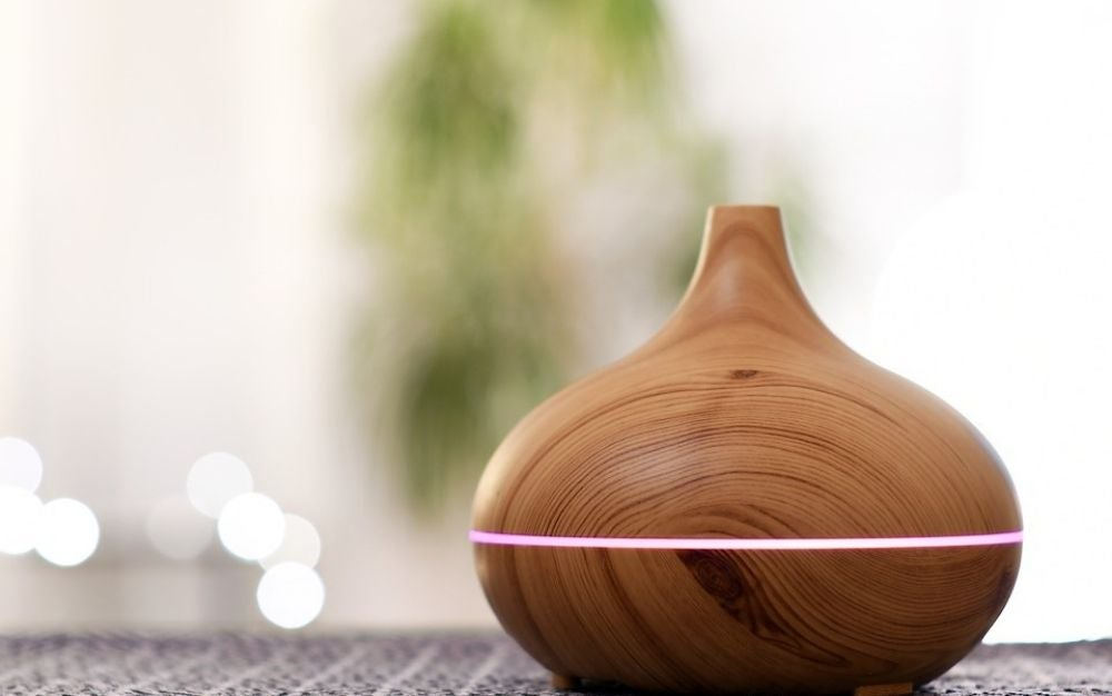 Yellow Wood Grain Oil diffuser from front.