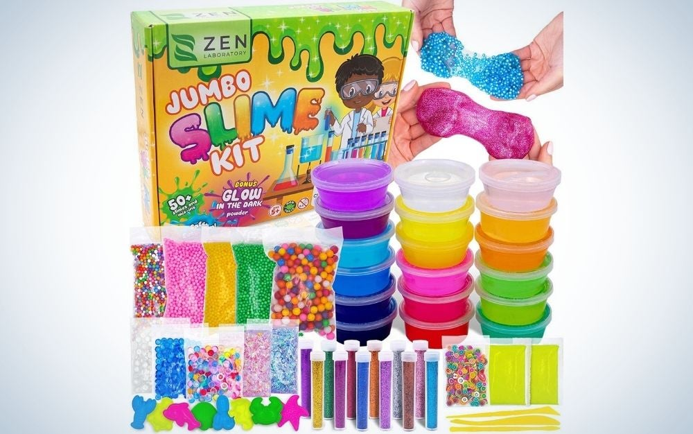 Different colored slime making kit for kids from front.