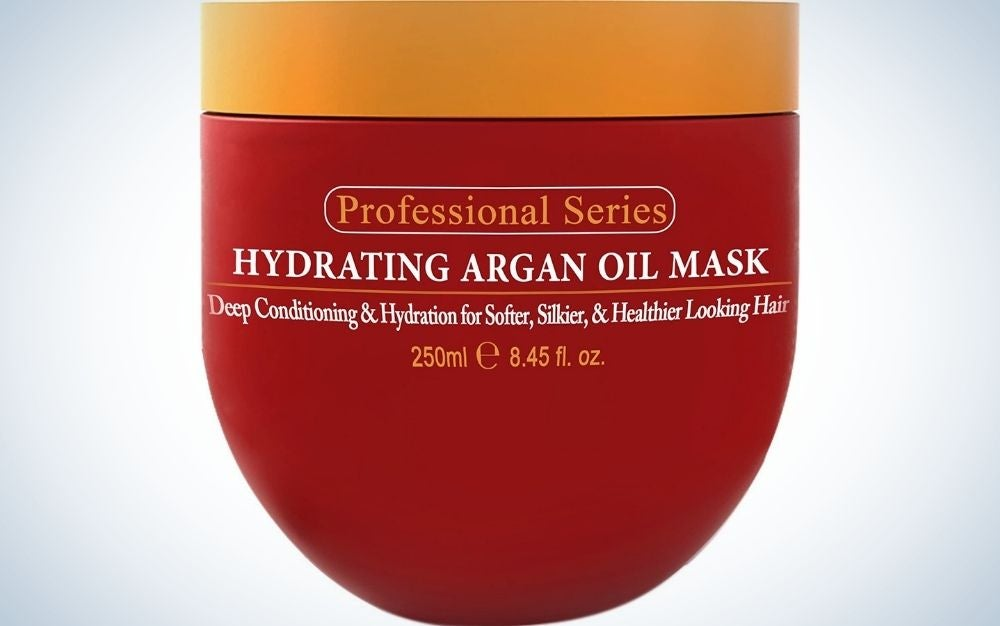 Hydrating Argan Oil Mask in red container from front.
