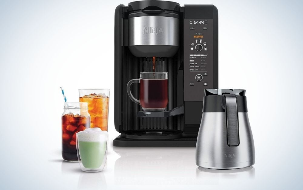 Ninja brewed system, auto-iQ tea and coffee maker with five brew styles, frother, coffee & red tea and a baskets with Thermal carafe.