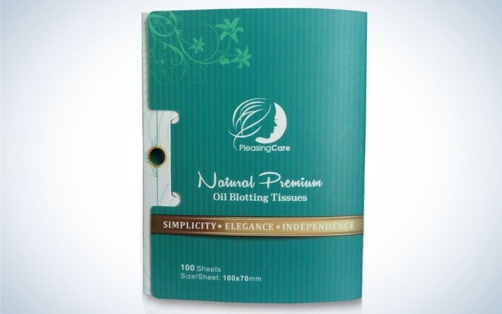 Natural Bamboo Charcoal Oil absorbing tissues from Pleasingcare in a light blue packing.