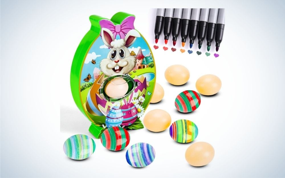 Bunny Easter egg decorating kit with 8 markers and 10 plastic eggs