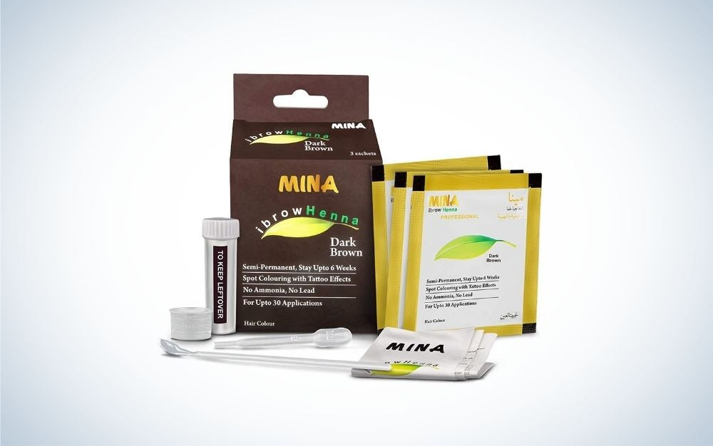Dark brown henna pack and coloring kit for eyebrow tints