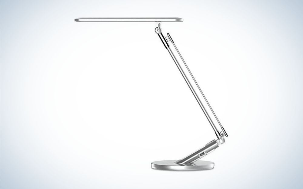 Silver desk lamp with LED light