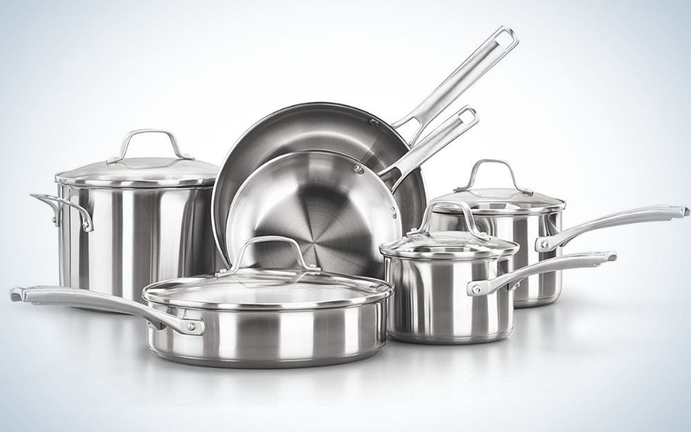 An10 set of cookware sets with stainless steel pots and pans with aluminum color all of the item of the set.