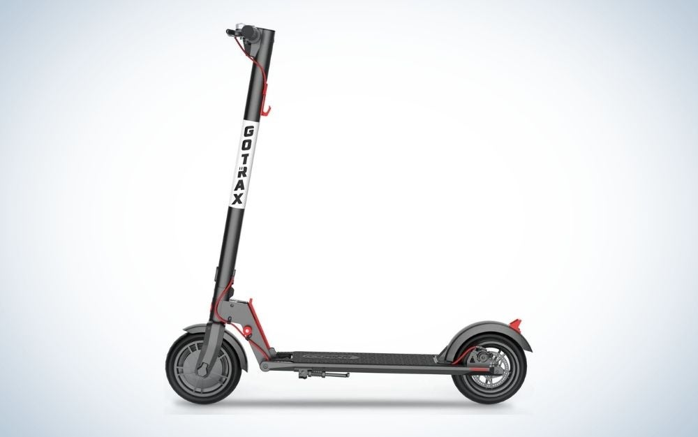 Black electric scooter with front handbrake