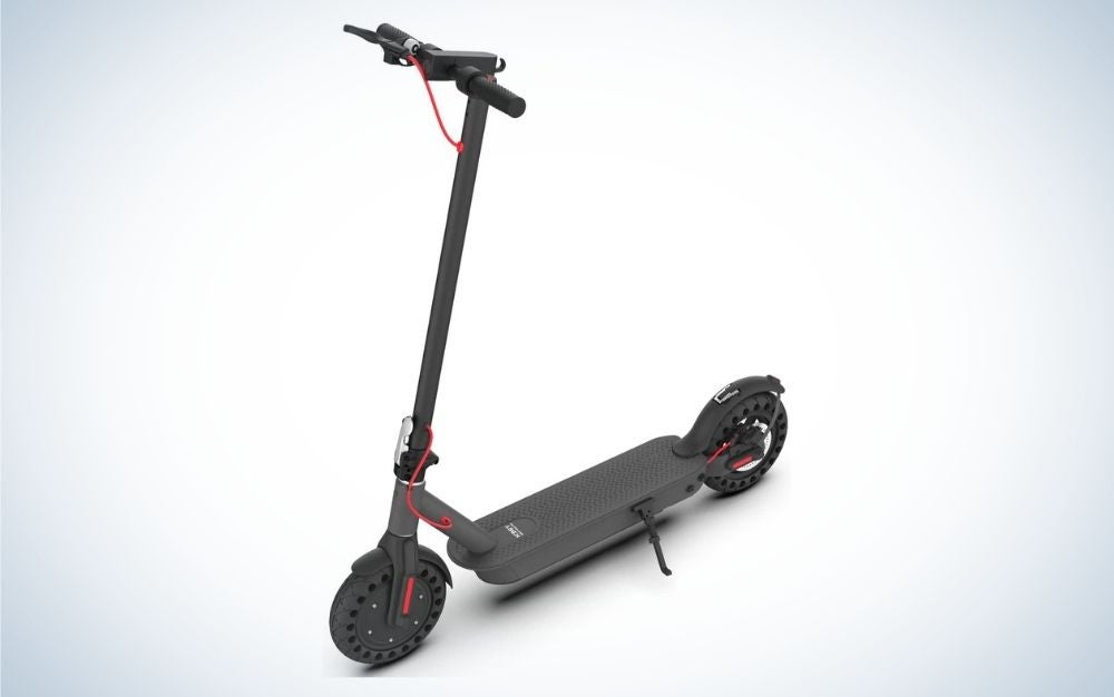 Black electric scooter with foldable handlebar