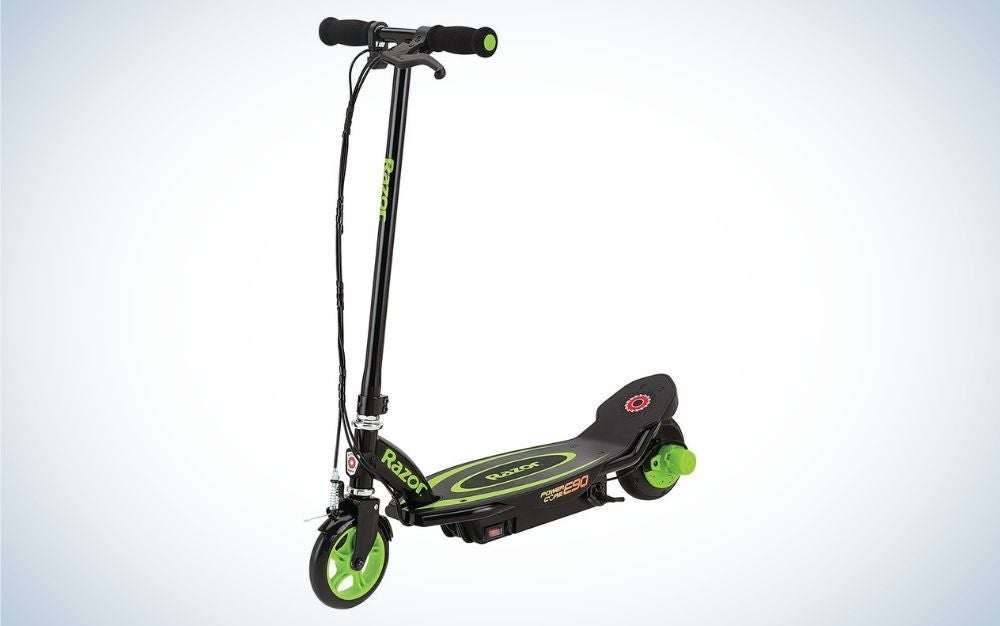 Black and green electric scooter with front braking
