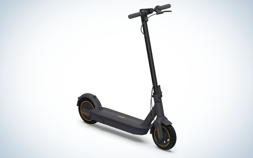 Dark gray electric scooter with foldable handlebar