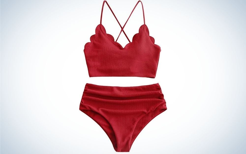 A set of swimsuits for women cherry color.