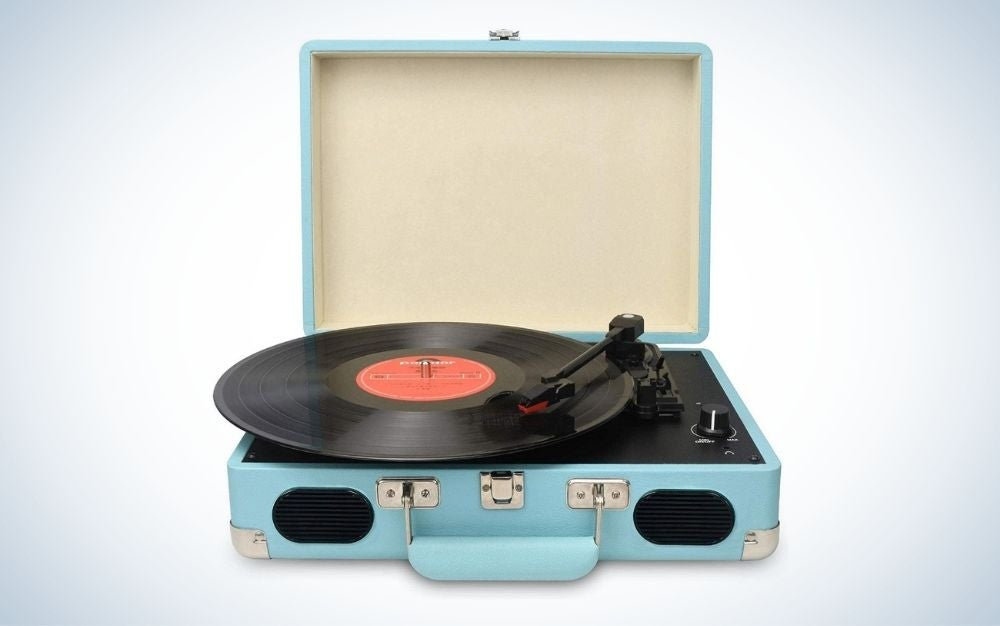 Light blue turntable record player with built in stereo speakers