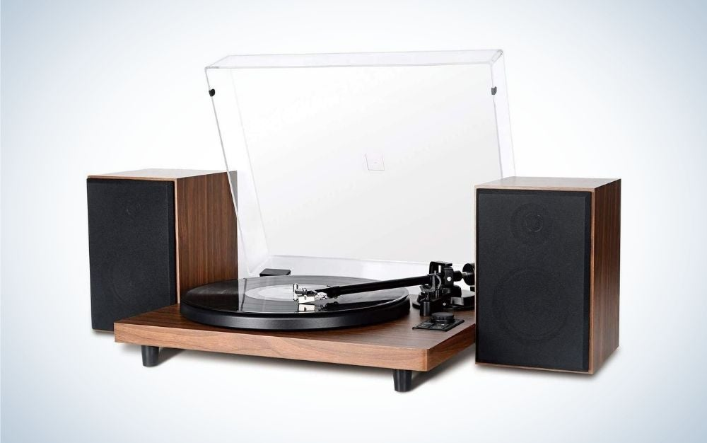 Wooden record player turntable with twin speakers