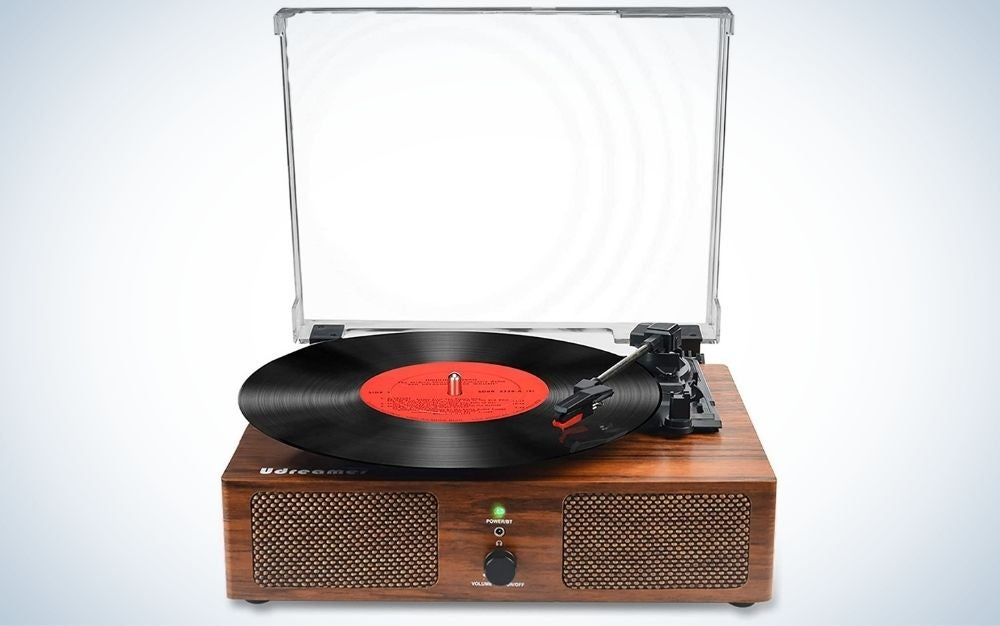 Brown vinyl record player Bluetooth turntable with built-in speakers and USB belt-driven