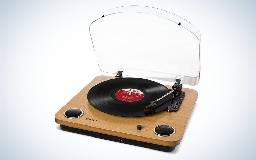 Natural wood finish record player and turntable